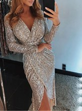 Elegant Women Sequined Shine High Split Winter Dress Party Sequin Sexy V-Neck Plus Size