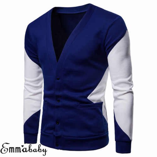 2019 NEW Men Knitted Casual Jumper Sweater Patchwork V-Neck Hooded Pullover Long Sleeve Tops Cardigan Sweaters