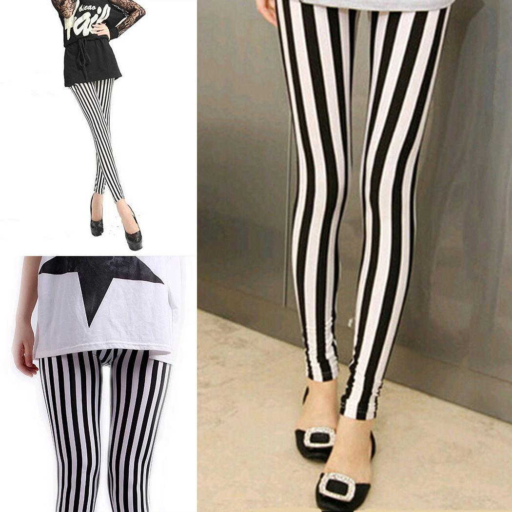 Women Casual Contrast Color High Waist Spring, Autumn Black White Elastic Long Slim   Legging   Pants