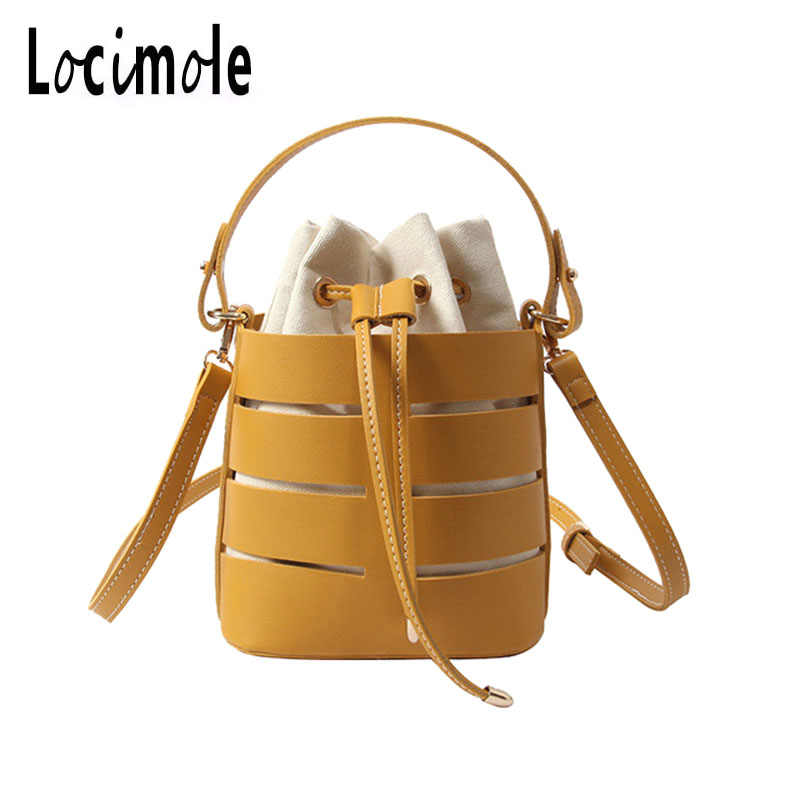Locimole Leather Women Bag Bucket Shoulder Bags Solid Big Women Handbag Set Large Capacity Tote Bolsas Feminina BIA262 PM49