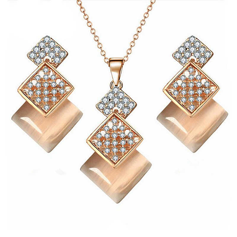 Hot Sale Crystal Pendants Necklaces Earrings Set for Women Fashion Geometric Square Opal Chokers Necklace&Earrings Jewelry Sets