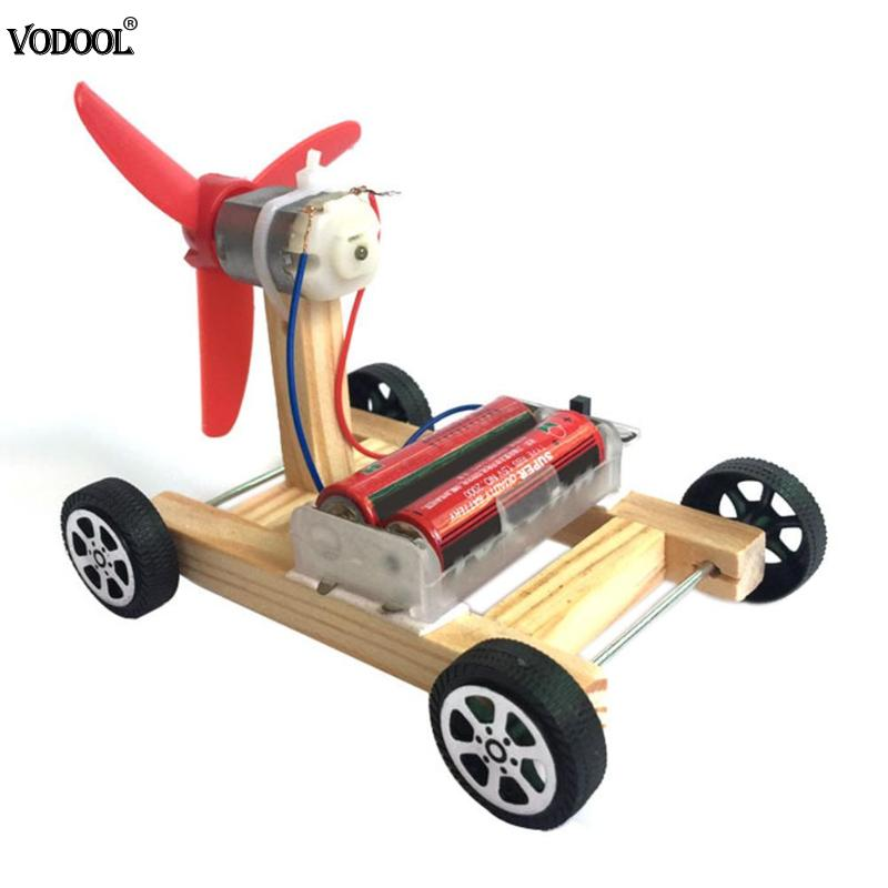 Wooden DIY Single-wing Wind Car Assembly Model Kit Science Experiment Toys Education Toy Portable Easy To Control