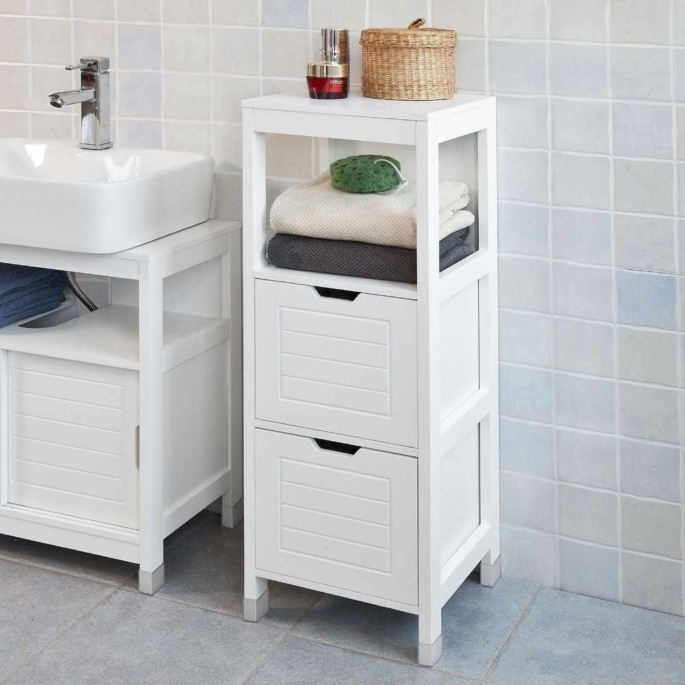 sobuy frg127-w, white floor standing bathroom storage cabinet unit with 1  shelf and 2 drawers