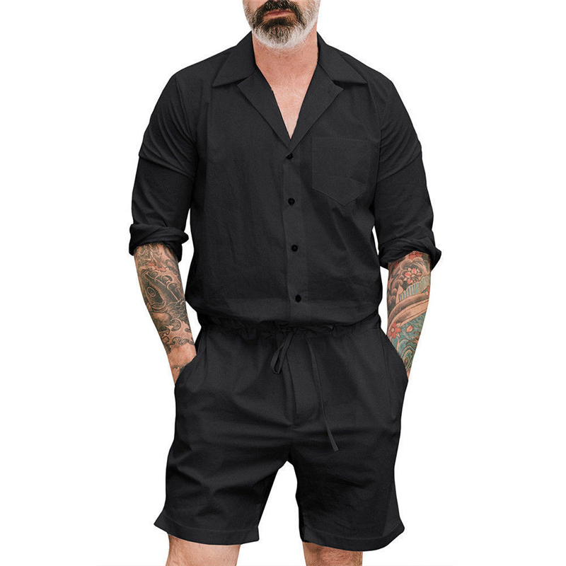 Super Thin Men's Short One Piece Romper Playsuits Man Short Sleeve Shorts Jumpsuits Male Casual Cargo Pants Playsuit Overalls