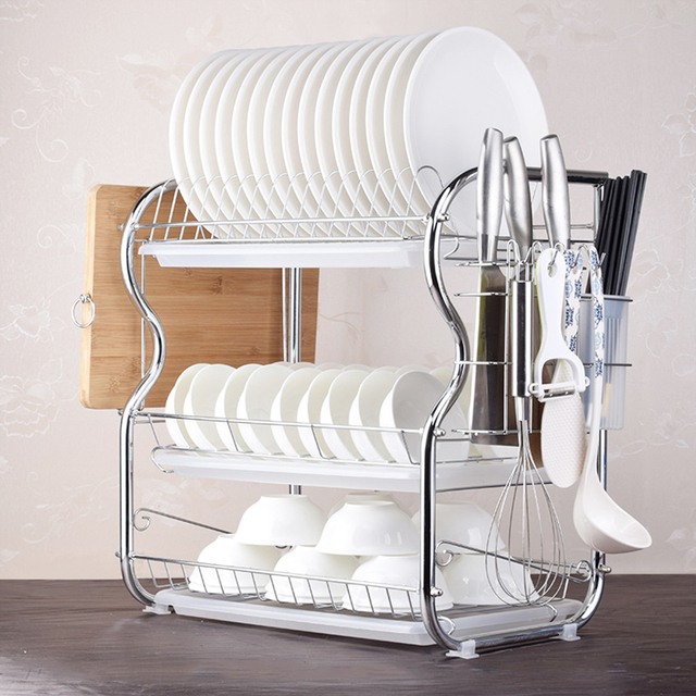 3 Tier Dish Rack Drain Kitchen Storage Draining Chopsticks Knives Cutting