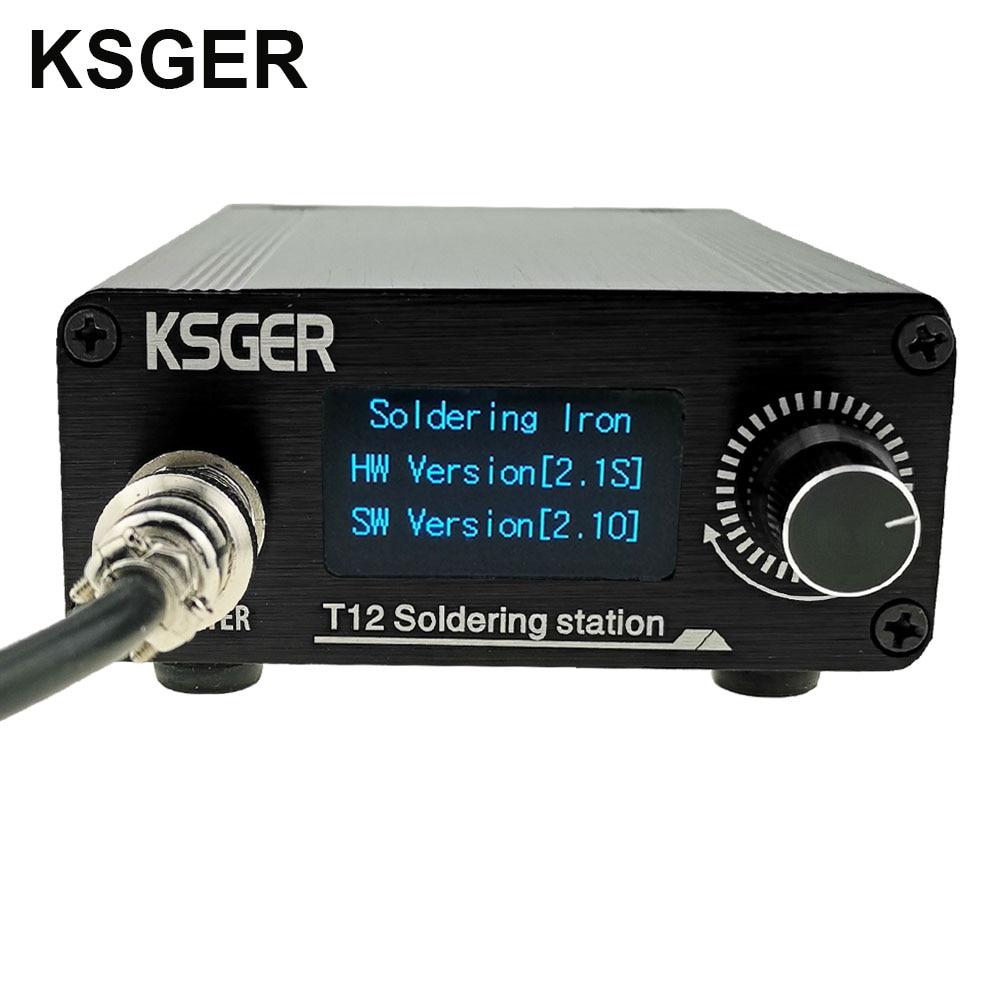 KSGER T12 Soldering Iron Station STM32 V2 1S OLED Welding Tools Soldering T12 tips Aluminum Alloy