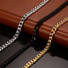 Vnox Classic Chain Necklace 24/30 inches for Men Long Necklace 3/5/7MM Wide Titanium Steel DIY Jewelry(China)