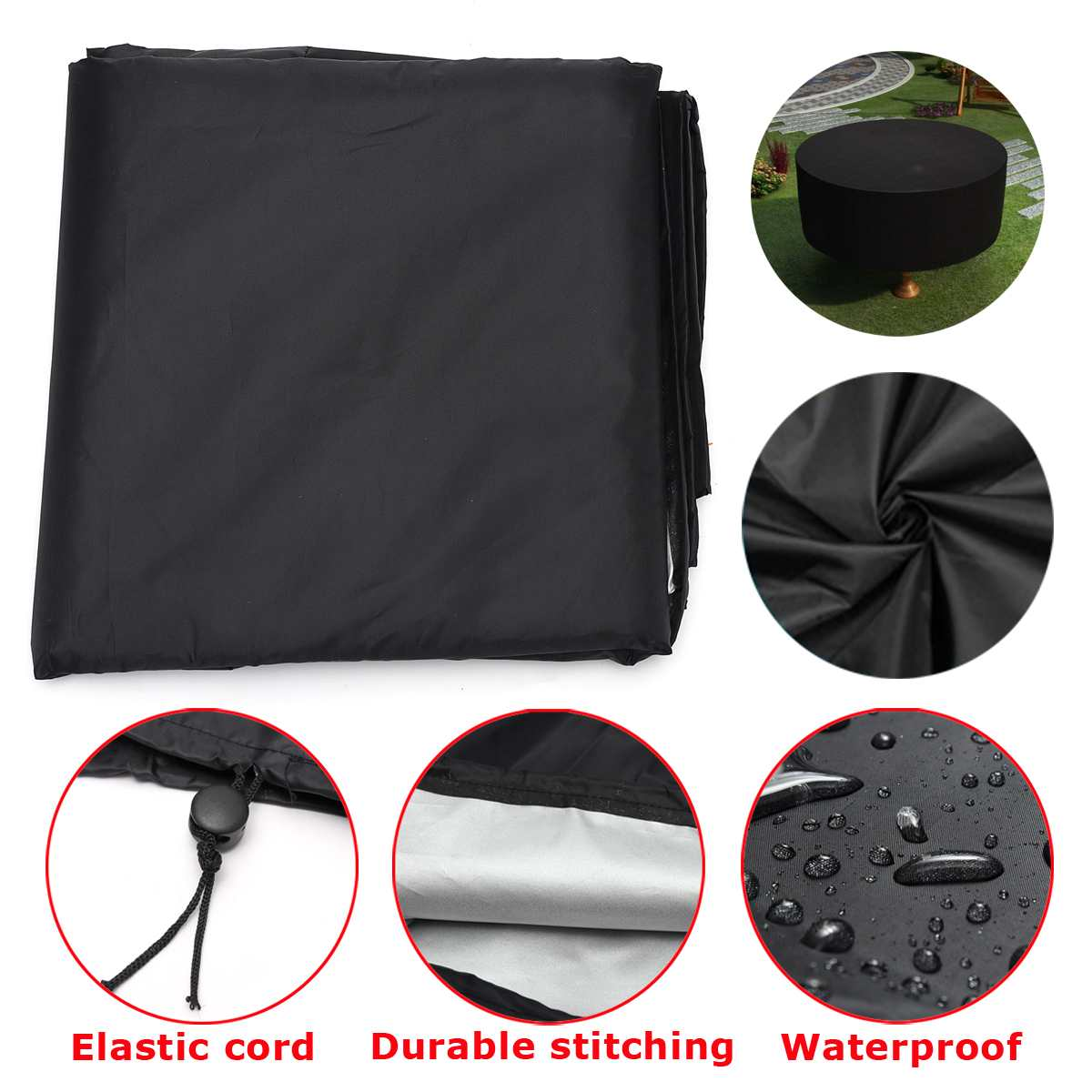 Round Anti-dust Cover Outdoor Garden Yard Patio Rain Snow Table Chair Furniture Waterproof Cover for Round Furniture 73x38 Inch 2