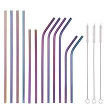 Разноцветные соломинки из нержавеющей стали 10,5 дюйма 8,5 дюйма многоразовые радужные соломинки для питья для 30/20 унций