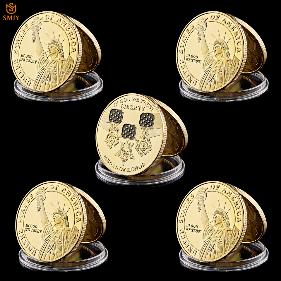 5Pcs Lot American Statue Of Liberty Believes in The Medal Of Freedom Gold 999 Challenge Coin USA Collection in Non currency Coins from Home Garden