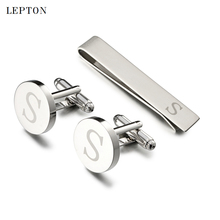 hot deal buy hot sale round letters s cufflinks for mens silver color letters s of alphabet cuff links & tie clip set men shirt cuffs button