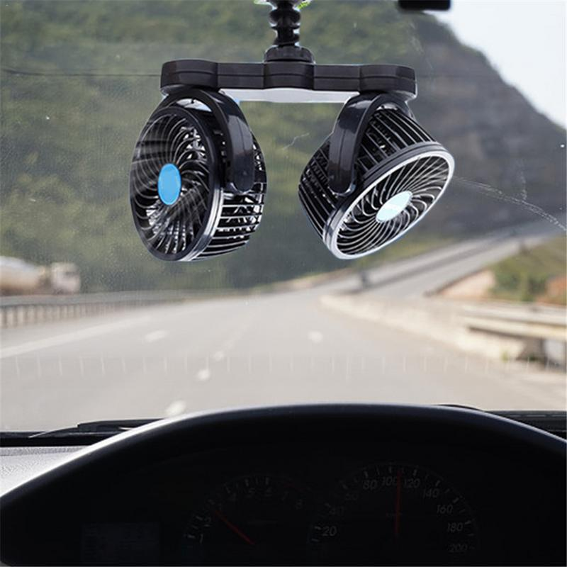 12V 24V Multi-Functional Cigarette Ignition Car Double-Head Electric <font><b>Fan</b></font> Suction Cup Truck Mini Desk <font><b>Fan</b></font> image