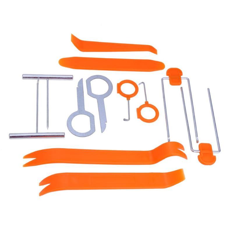 Professional 12Pcs Orange ABS Automobile Audio Door Clip Panel Trim Dash Auto Radio Removal Pry Tools Set Car Panel Removal Tool