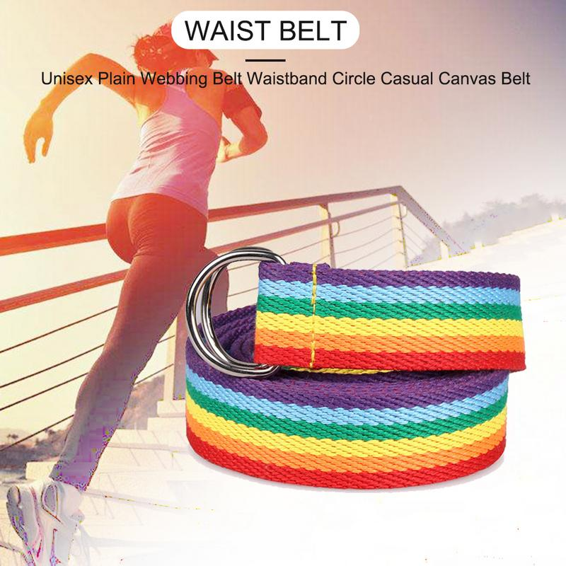 HOT SALE Fashion Unisex RAINBOW Plain Webbing Men Women Waist   BELT   Waistband Casual Canvas   Belt   Alloy Circle Thin Strap