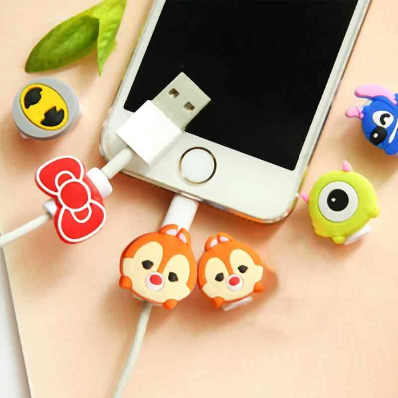 1Pcs Mooie Cartoon Charger Kabelhaspel Beschermhoes Saver 8 Pin Data line Protector Oortelefoon Cord Protection Sleeve Cover