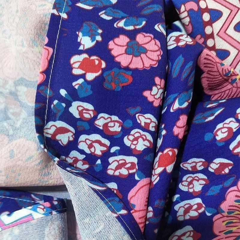 Лето богемный стиль, с принтом женское платье с v-образным вырезом свободный рукав-бабочка тонкий линии лодыжки Длина платье 2019 мода прилива