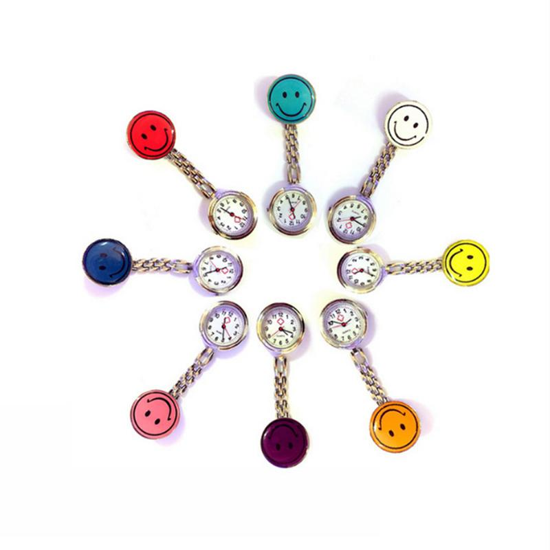 Nurse Watches 1 PC Brooch Fob Medical Nursery Clocks Colorful Smile Faces Quartz Pocket Pendant Hanging Watch Dropshipping