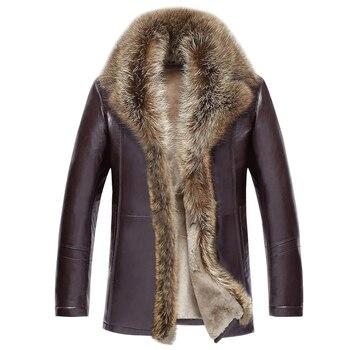 Veste en cuir pour homme agneaux laine veste en cuir véritable homme épais col en fourrure de raton laveur Jaqueta Couro Masculino grande taille MZ1105