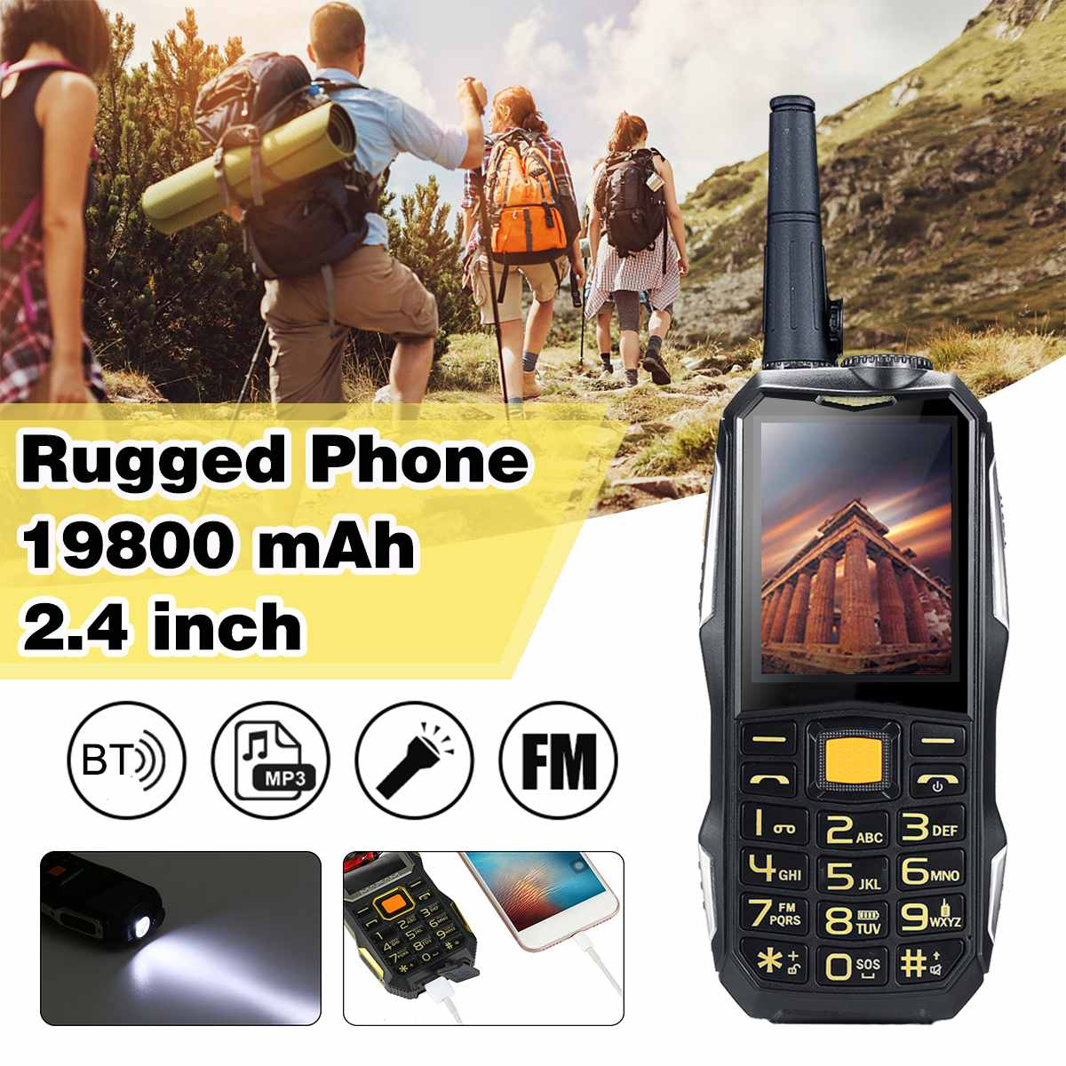 19800Mah Waterproof Shockproof Rugged Phone Walkie Talkie Phone Support Power Bank Flashlight Dual Sim Gsm Smartphone Fm Radio