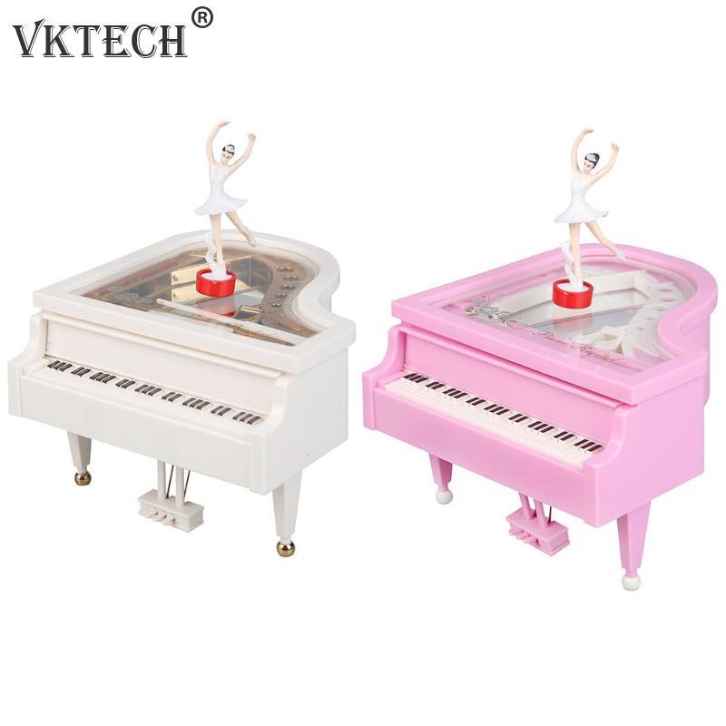 Romantic Piano Model Dancing Ballerina Music Box Hand Crank Musical Boxes Desktop Ornament Birthday Wedding Gift