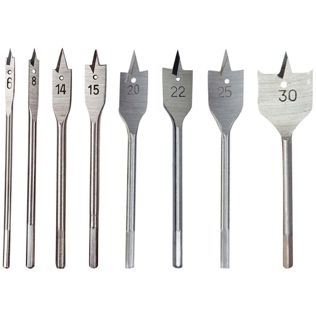Quick Change Spade Paddle Flat Wood Boring Drill Bit Set 10//12//16//18//20//25mm 6
