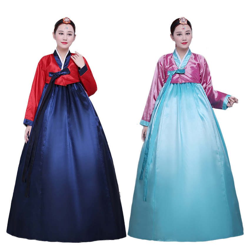 Korean Palace Hanbok Traditional Costumes Adult Woman Dae Jang Geum Oriental Asain Dance Dress with Bowtie Stage Wear