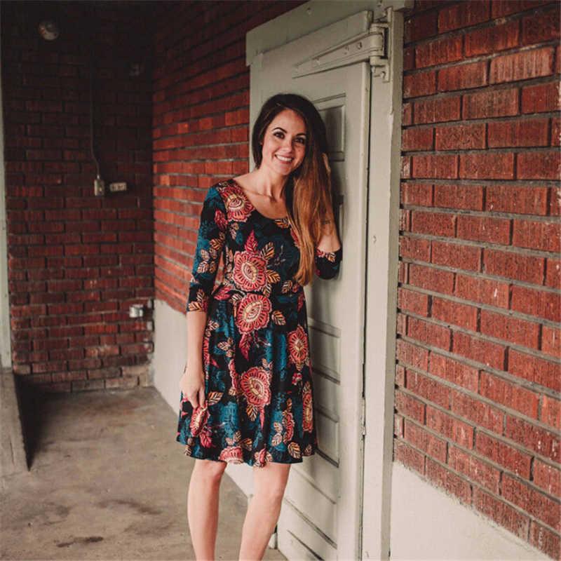 Vestidos de madre hija nuevo vestido Floral que empareja la ropa de la familia Boho señoras Maxi vestidos de verano niños niña vestido de fiesta ropa