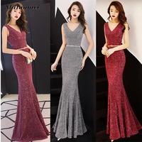 Red Shinny Solid Mermaid Hem Maxi Dress Women Sleeveless Deep V Evening Party Vestidos Female Formal Wedding Prom Long Dresses
