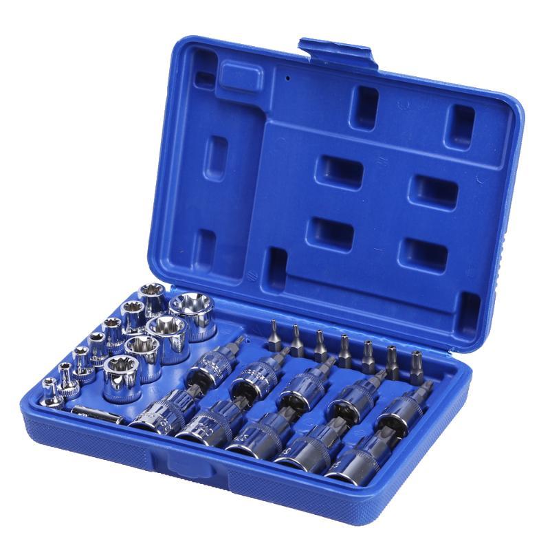 29pcs 1/4 3/8 1/2 Torx Star Socket Bit Set Of Tools Male Female E & T Sockets With Torx Bit Wrench Car Repair Tools