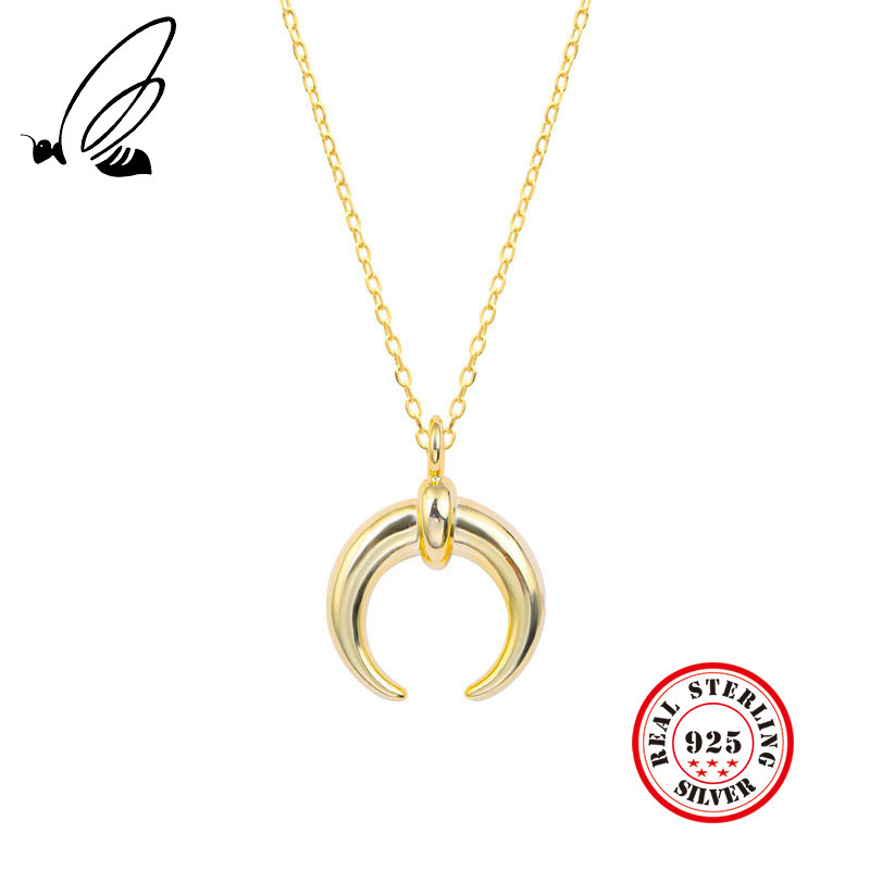 925 Sterling Silver Crescent Moon Pendant Necklace Gold Clavicle Short Necklace For Women Collares Erkek Kolye Choker Jewelry925 Sterling Silver Crescent Moon Pendant Necklace Gold Clavicle Short Necklace For Women Collares Erkek Kolye Choker Jewelry