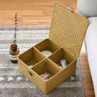 4 Lattice Storage Box Straw Wicker Basket Makeup Sundries Toy Organizer Square Jewelry Case Container Easy Lock With Lid Chest