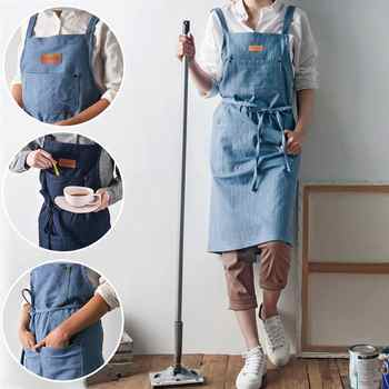 New Fashion Antifouling Kitchen cooking Denim apron for Woman and man Restaurant work apron Pinafores Tablier Unisex adult apron - DISCOUNT ITEM  29% OFF All Category