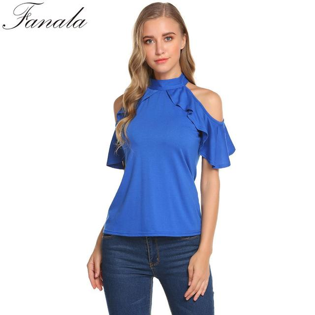 FANALA Cold Shoulder Women T-Shirts Vintage Bow High Neckline Ruffles Raglan Sleeve Women Shirt Tops Fashion Solid Summer Shirt