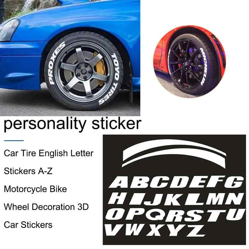 Universal Car Tire Tread 3d A Z English Letter Stickers Motorcycle Car Wheel Tire Styling Diy Decor Stick Decals Wheel Label