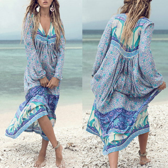 Women Summer Long Sleeve Boho Tassel Irregular Print Sexy Maxi Dress Sundress plus size 5XL ankle length dress lolita bech dress
