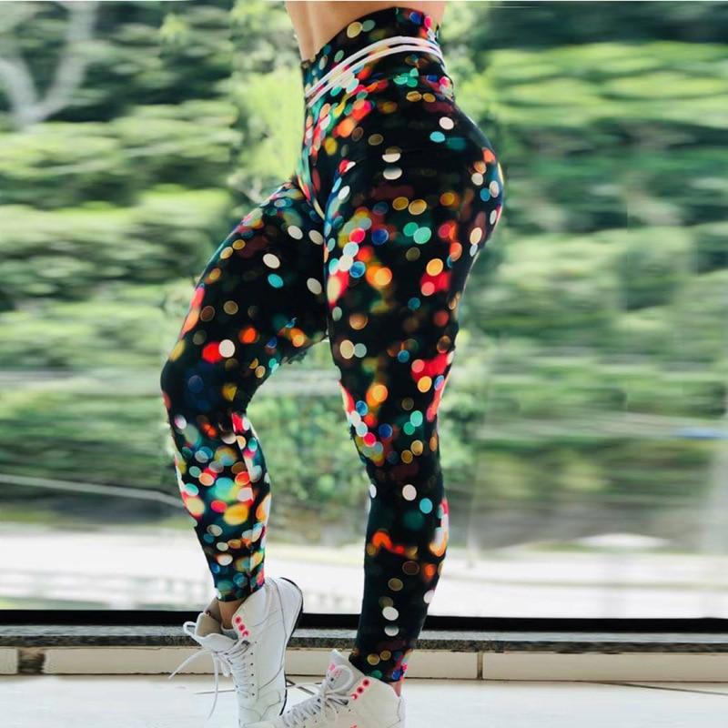 Women Rainbow Print Seamless Leggings sport femme Yoga Pants High Waist Elastic Running Fitness Slim Pants Push Up Gym Leggings in Yoga Pants from Sports Entertainment