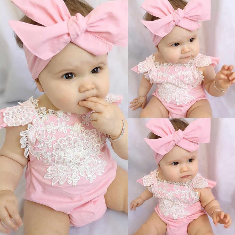 Princess Newborn Lace Ruffles Frilly Baby Girl Rompers Bebe Bodysuit+Headband Pink Leotard Tops Baby Clothing