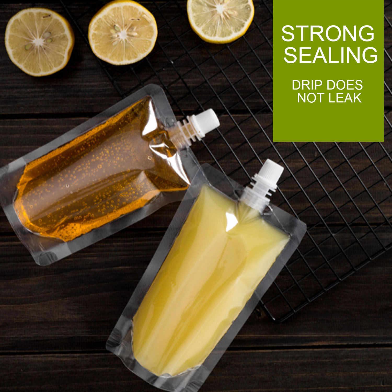 Best 100 Pcs Stand-Up Plastic Drink Bag Spout Pouch For Beverage Liquid Juice Milk Coffee Nozzle Bag Beverage Mouth Bag