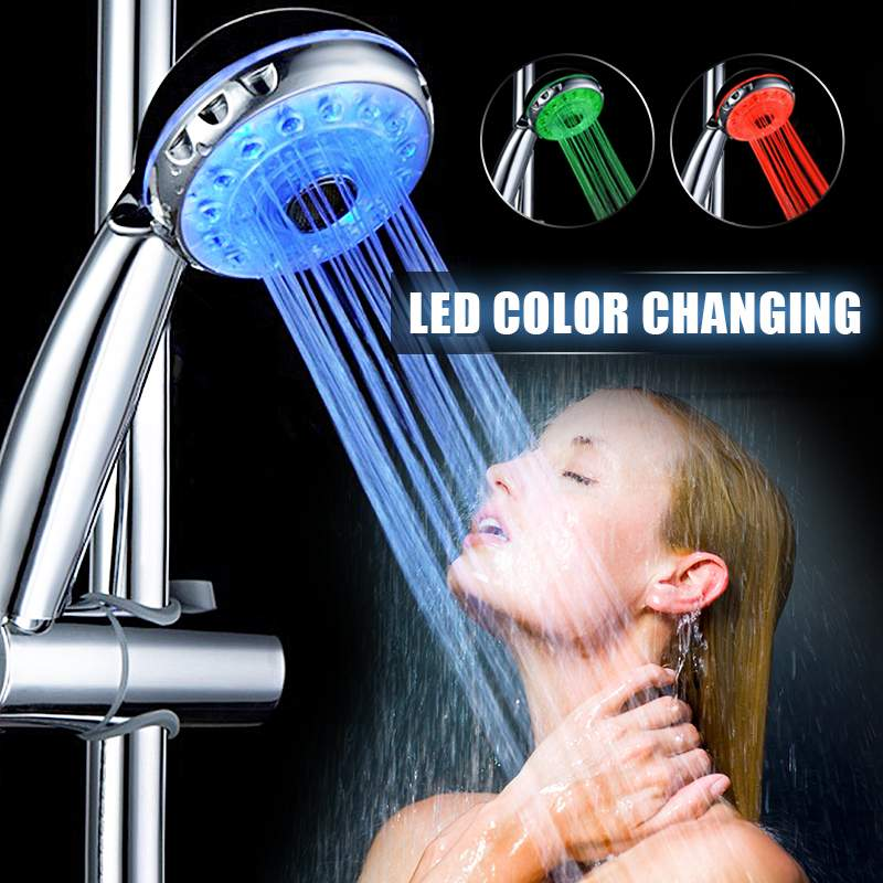 Adjustable 3 Mode 3 Color LED Shower Head Light Temperature Sensor RGB Bath Sprinkler Bathroom Shower Head