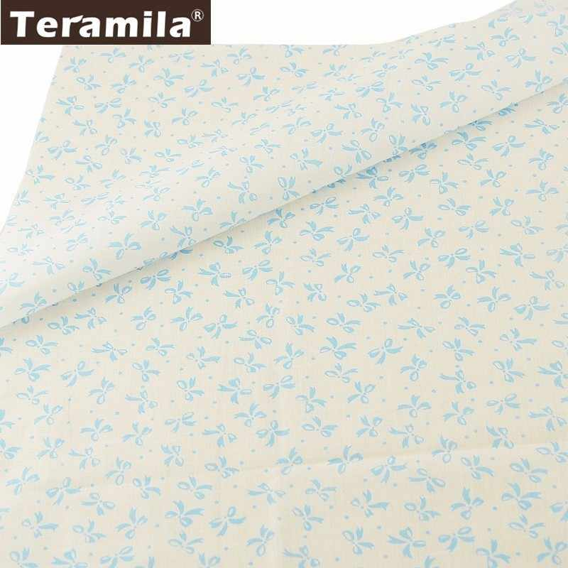 Teramila White Bottom Patchwork Cloth DIY Dolls Scrapbooking Tela 100% Cotton Plain Fabric Bowtie Style Tissue Home Textile