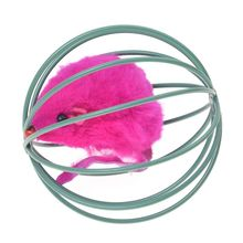 купить Pet Cat Kitten Funny Playing Toy Teal Fake Mouse Mice Rat in Cage Ball дешево