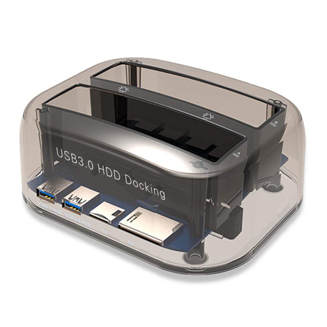 Usb 3.0 à Sata double baie disque dur externe Station d'accueil pour 2.5/3.5 pouces Hdd Ssd disque dur duplicateur