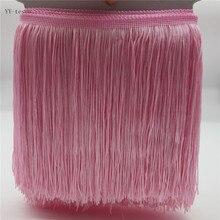 YY-tesco 5 м/лот 20 см Ширина кружевная бахрома кисточка розовая бахрома и кружевная бейка лента пришить латинское платье сценическая одежда аксессуары