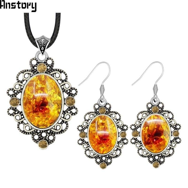 cad5fe19eb46 Conjunto de joyas Vintage de cristal de resina ovalado pendientes de ...