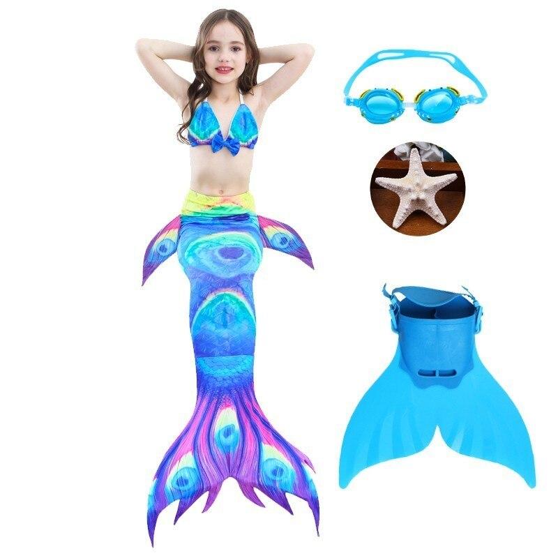 2019 4 pièces/ensemble HOT enfants filles queue de sirène avec Fin maillot de bain Bikini maillot de bain robe pour les filles avec Flipper Monofin pour nager