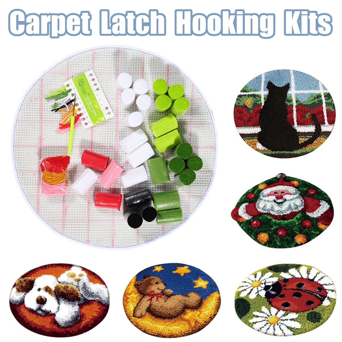 Rug Dogs Embroidery Designs: Santa Claus Dog Needlework Latch Hook Rug Kit Unfinished