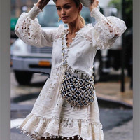 Brand 2019 Spring Summer Women Embroidery Lace White Dress Party Ladies Sexy Hollow Out Beach Short Lantern Long Sleeve Dress
