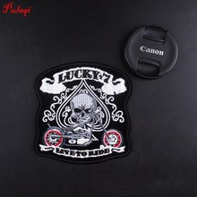 Pulaqi Embroidery Patch Skull Military Morale Tactical Emblem Badge Appliques Embroidered Patches For Clothing Backpack H