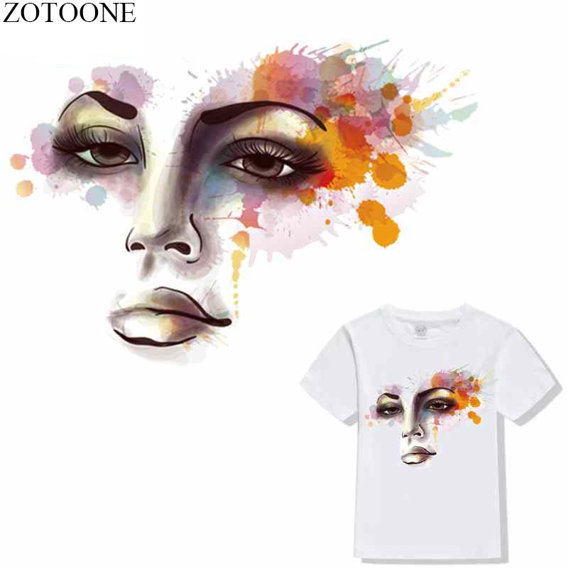 ZOTOONE Beauty Girl Iron-on Transfers Patches for Clothing Embroidered Applique DIY Heat Clothes Stickers Badges
