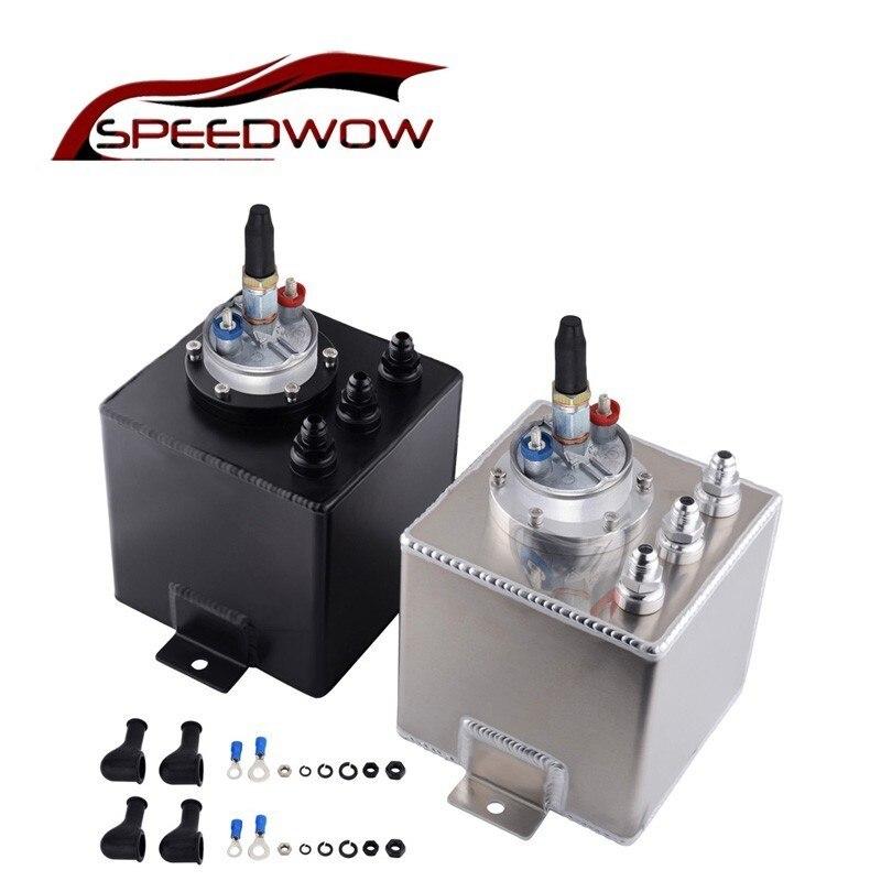 SPEEDWOW haute qualité 2L universel billette en aluminium réservoir de surtension de carburant bouchon d'huile avec 1 pièces externe 044 pompe à carburant argent/noir